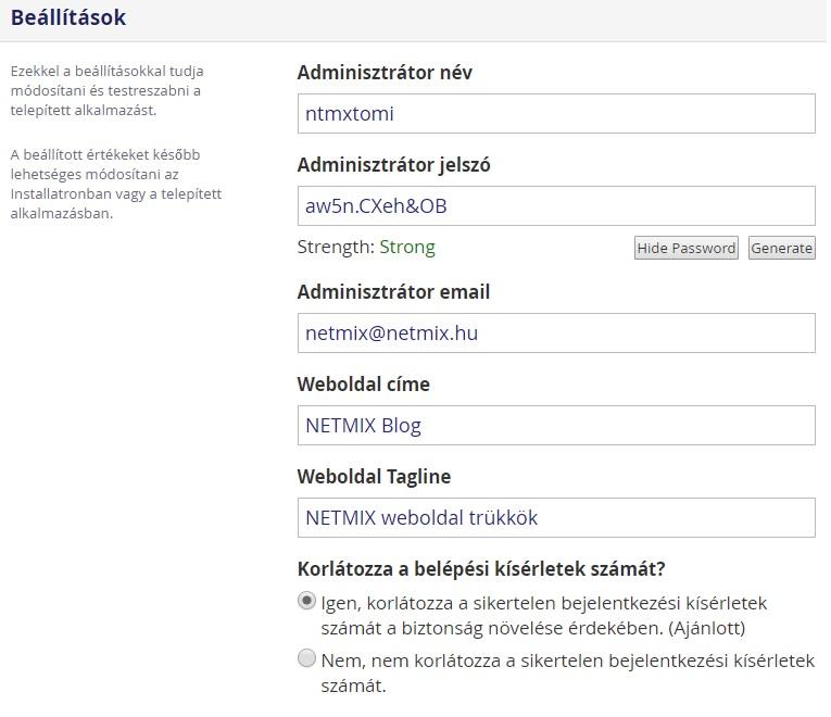 WordPress telepítés beállítások