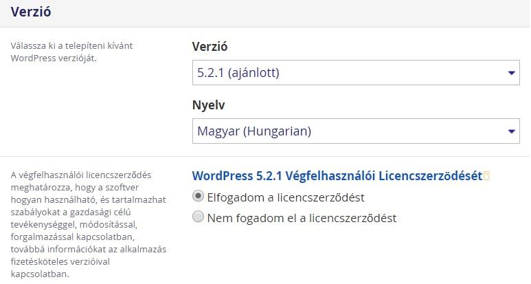 WordPress verzió kiválasztása