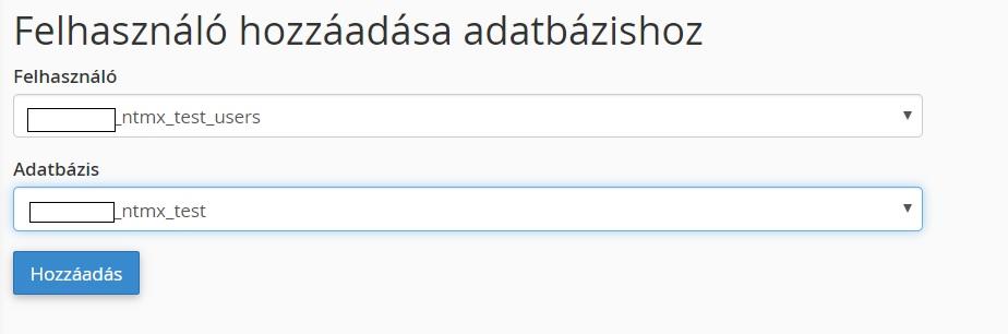 Felhasználó hozzáadása az adatbázishoz