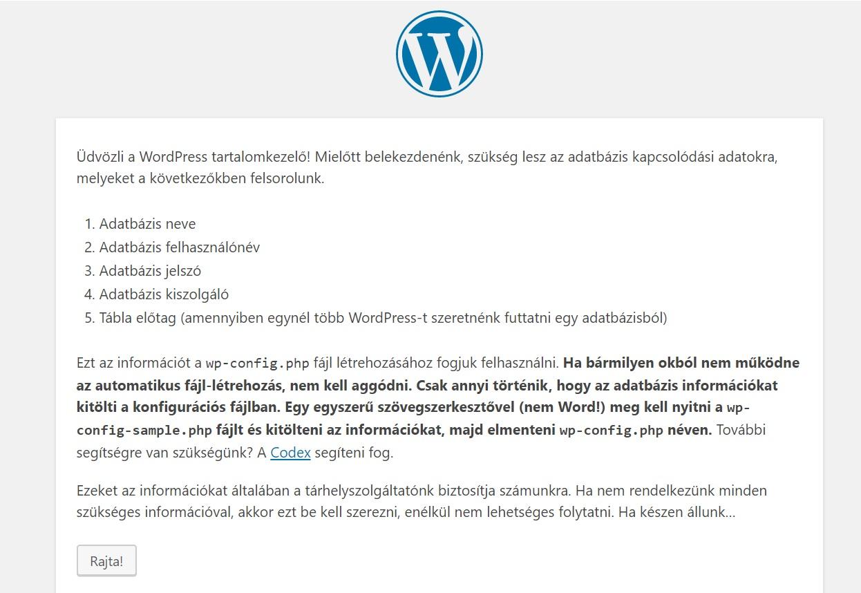 WordPress telepítő