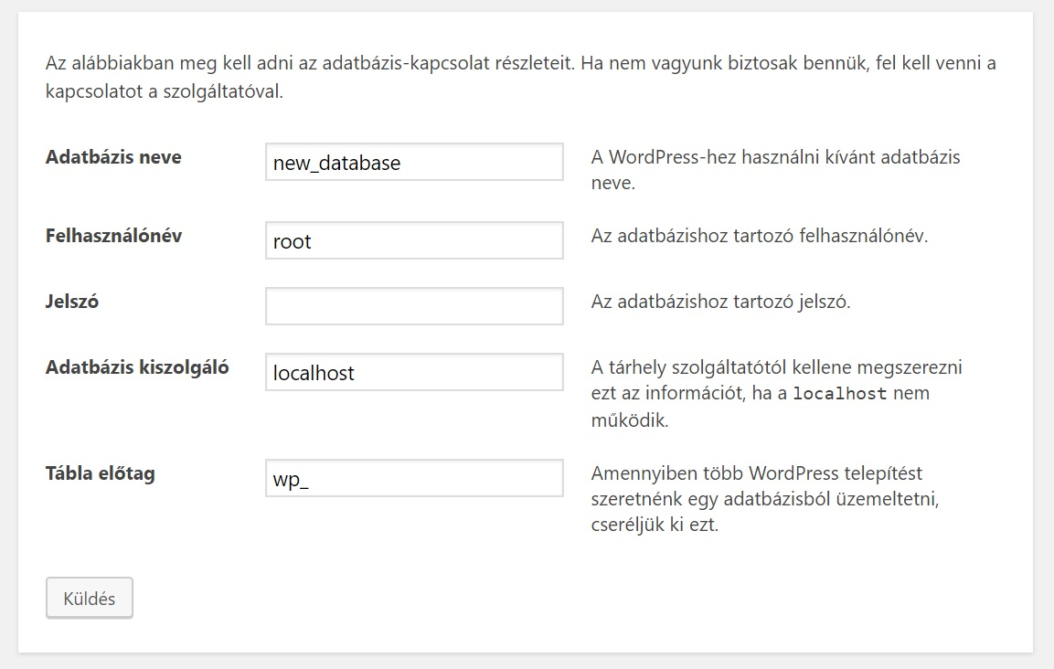 WordPress install localhost